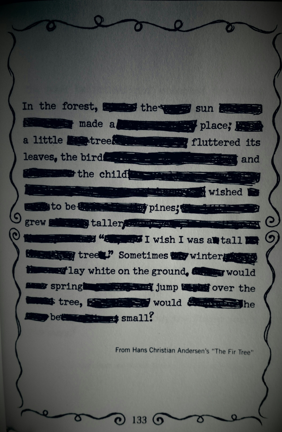 A Tall Tale and a Winter Wish (a blackout poem)